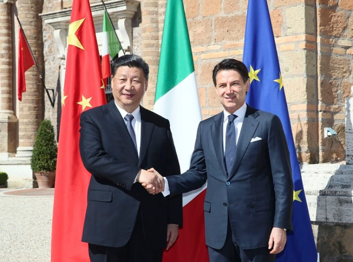 Chinese President Xi Jinping and Italian Prime Minister Giuseppe Conte hold talks in Rome, Italy, March 23, 2019. (Xinhua/Lan Hongguang)