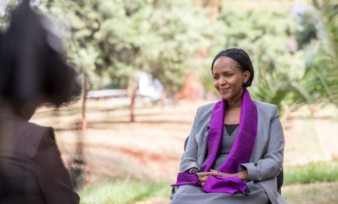 Joyce Msuya, the acting executive director of the United Nations Environmental Programme (UNEP), reacts during an exclusive interview with Xinhua in Nairobi, capital of Kenya, March 5, 2019. (Xinhua/Zhang Yu)