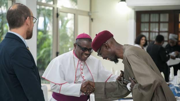 Rt. Rev. Dr. Daniel Silvanus Torto greeting Sheikh Aremeyaw Shaibu.