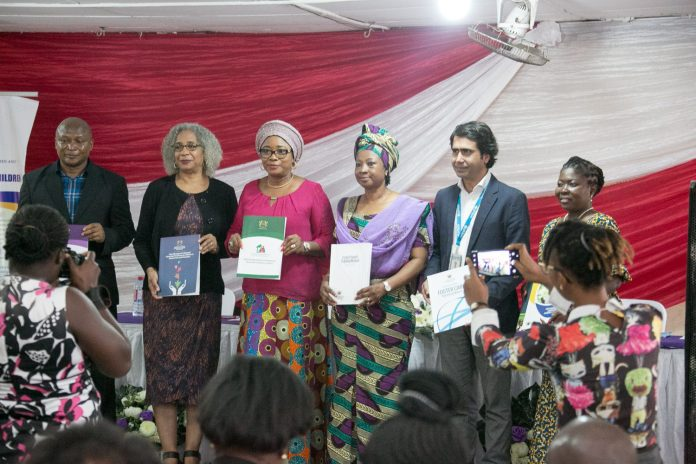 The Minister For Gender Children And Social Protection Cynthia Morrison In A Group Photo With Representatives From Usaid Unicef And Directors Of The Ministry