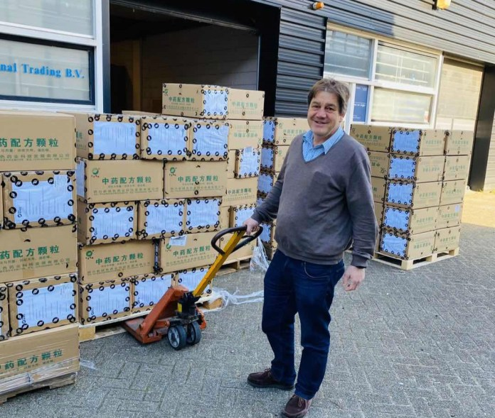 About 20,000 boxes of the instant TCM mixture, which has proved effective in combating COVID-19 in Wuhan, Hubei province, reached the Netherlands on Tuesday. [Photo provided to chinadaily.com.cn]