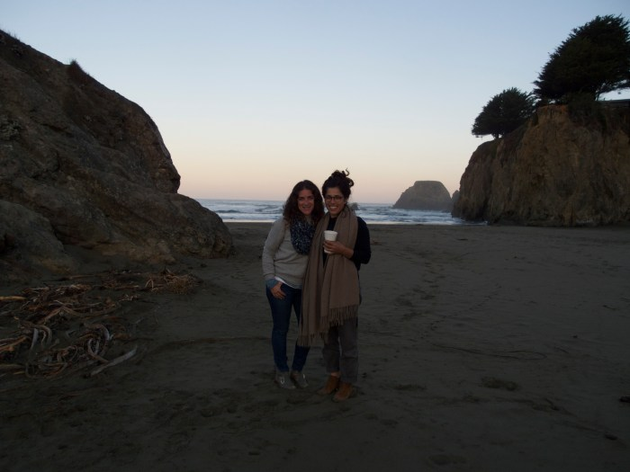Lauren and I, early morning along the Cali coast, on the last day of our road trip to Oregon.