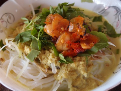 Unidentifiable meat with fish paste, nooddles and fresh herbs, Sieam Reap, Cambodia