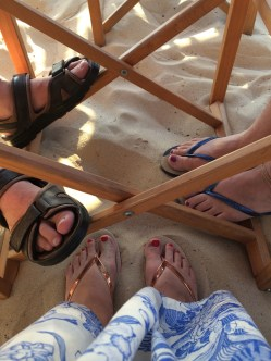 Dinner with our feet in the sand!