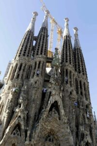 Greenpeace activists protest at Barcelona's famous Sagrada Familia basilica