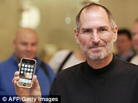The then Chief Executive Officer of Apple, Steve Jobs, with the iPhone