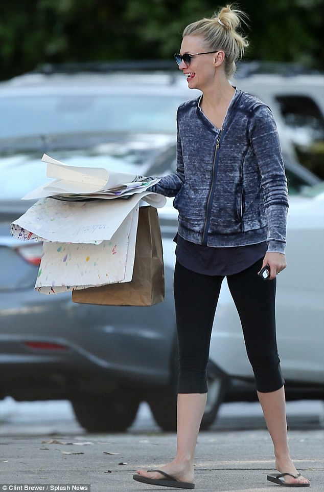 Make-up free: January Jones dressed down and went au-naturel while running errands around Los Angeles on Thursday