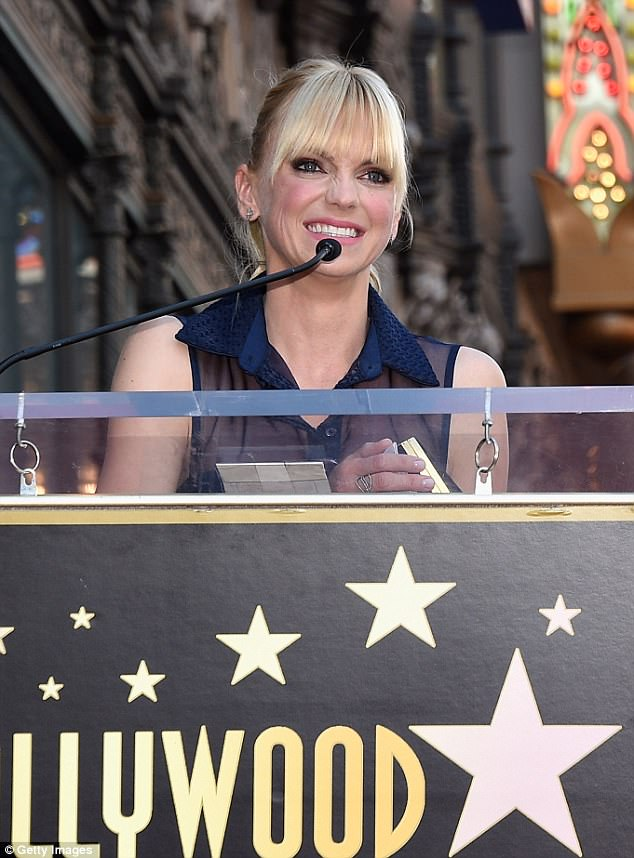 Smile: Anna showed off her pearly whites as she gave a little speech