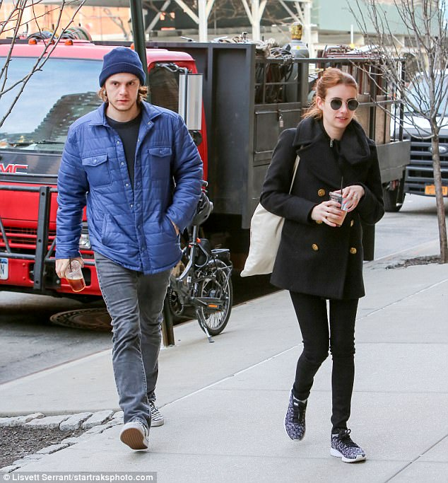 Time in a bottle: Evan began dating Emma in 2012 after they had worked together on the film Adult World. In March 2013, they revealed that they had gotten engaged