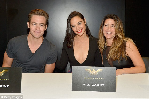 Gal of my dreams: Jenkins (right, with Chris Pine and Gadot) calls her Wonder Woman star 'supernaturally beautiful and unbelievably kind and thoughtful and intelligent and wise'