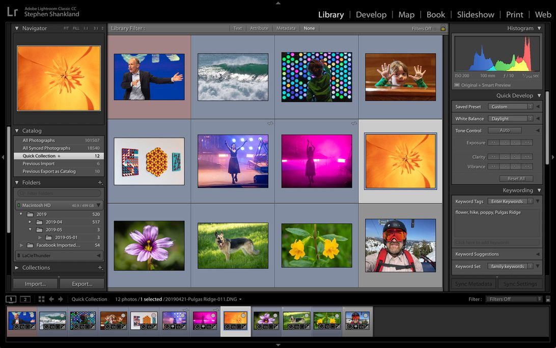 Lightroom Classic lets photographers edit and catalog photos.