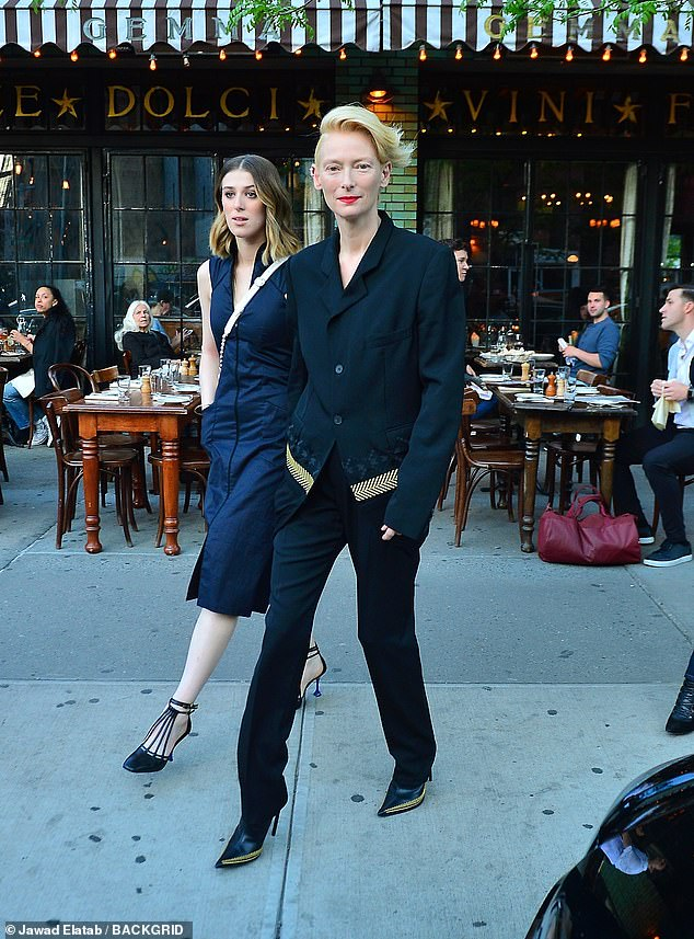 All smiles:Tilda also stars as Rosalind in the film, which marks Honor's first film role since 2009's I Am Love, where she also starred alongside her mother
