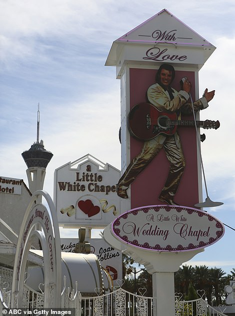 Vegas icon: Sophie and Joe got hitched at Vegas' famous A Little White Wedding Chapel, which has room for just 20 guests