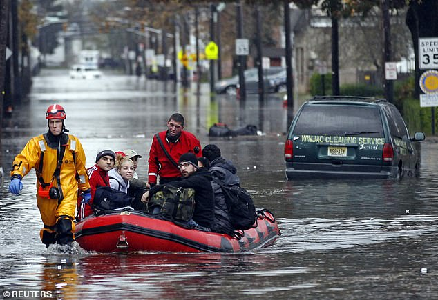 Flooding during Hurricane Sandy in New Jersey is shown above, from 2012