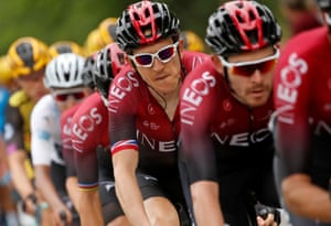 Geraint Thomas, hoping to stay in contention today.