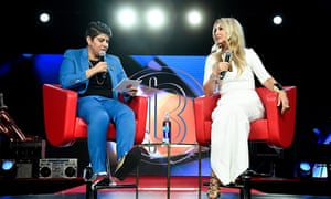 BeautyCon Media's chief executive, Moj Mahdara, speaks to Anastasia Soare during BeautyCon festival 2019 in LA