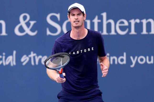 Andy Murray trains during his singles comeback