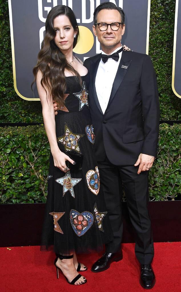 Christian Slater, Brittany Lopez, 2018 Golden Globes, Couples