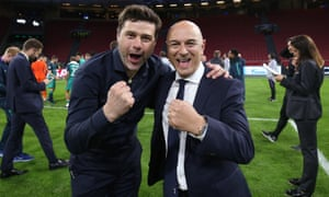 Mauricio Pochettino and Daniel Levy celebrate Spurs' passage to last season's Champions League final.
