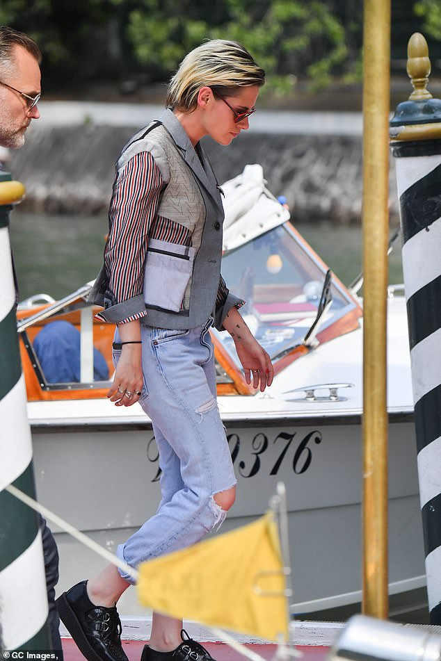 Out and about:Kristen Stewart went for an all together different look as put on a chipper display while out and about during the 76th Venice Film Festival on Saturday