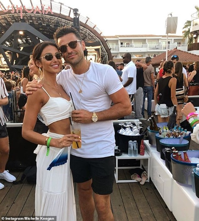 Happy couple: Michelle and husband Mark Wright have given fans a glimpse into their scenic Ibiza holiday with a series of envy-inducing social media snaps
