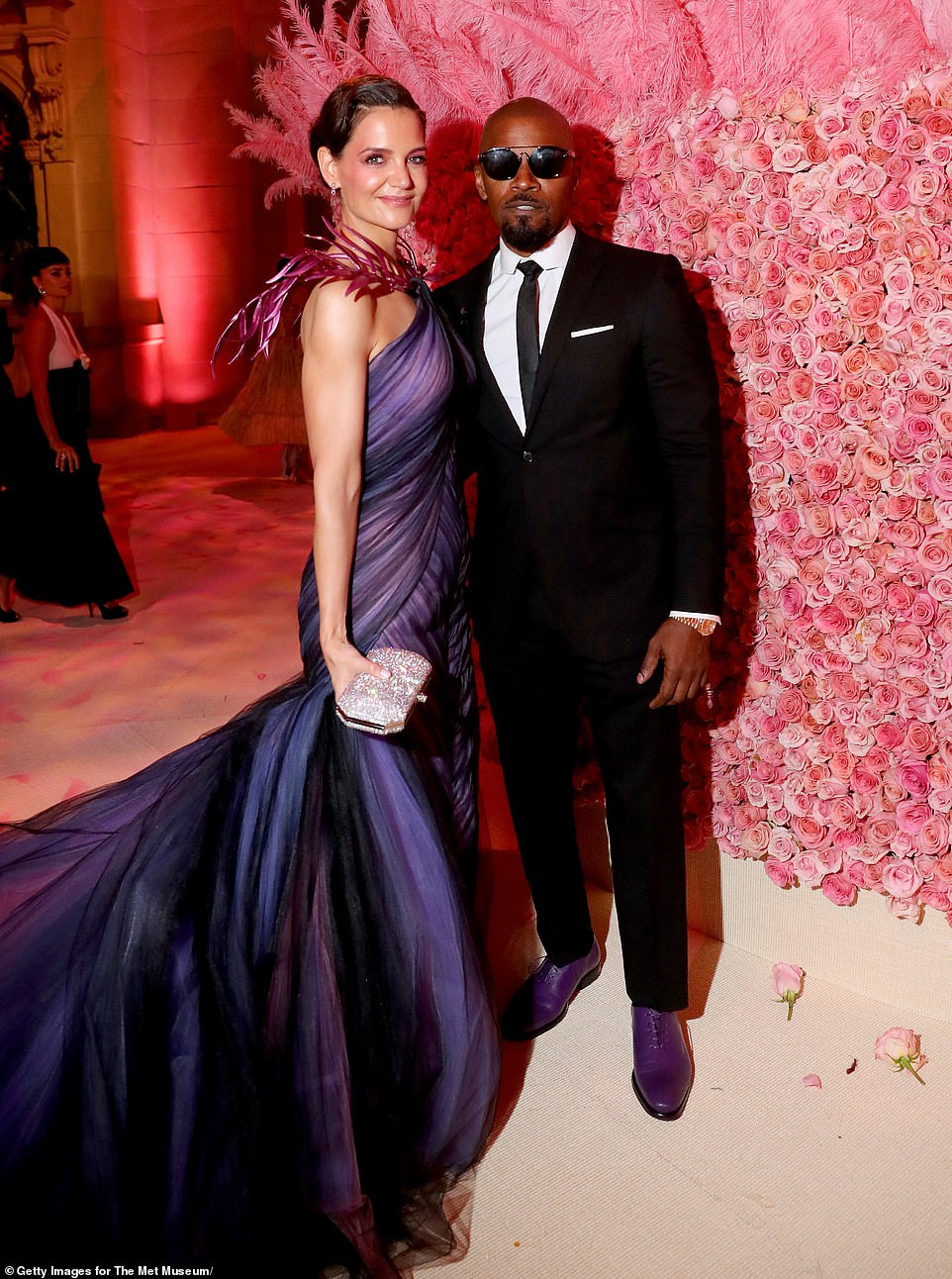 Coordination:Their last public appearance as a couple was a glamorous jaunt on the first Monday in May to the Met Gala, where his shoes matched her royal purple Zac Posen gown