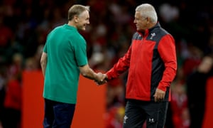 Ireland's head coach Joe Schmidt and Wales' head coach Warren Gatland shake hands ahead of the game.