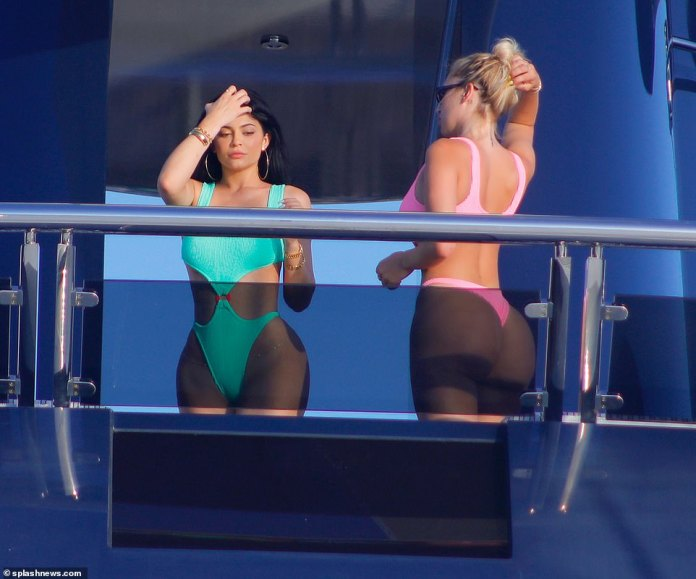 BFFs:The make-up mogul was joined by her BFF BFF Anastasia 'Stassie' Karanikolaou on the $250 million superyacht's decking as they posed up a storm