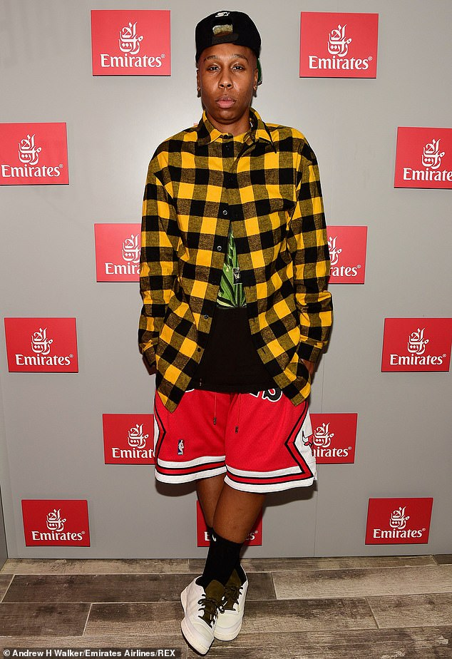 No fuss: Master Of None star Lena Waithe kept things casual with a yellow and black checker shirt over a black T-shirt with red and white Chicago Bulls shorts