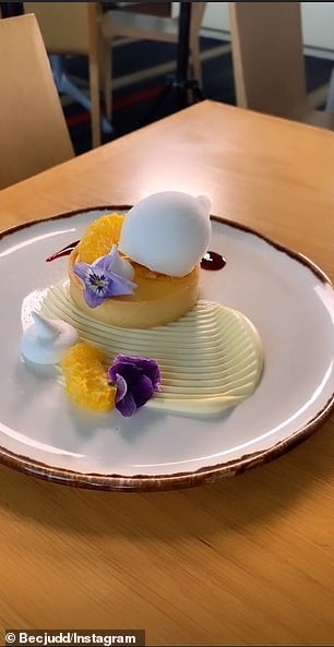 Sweet tooth! Bec showed a stunning dessert with an edible flower on the plate