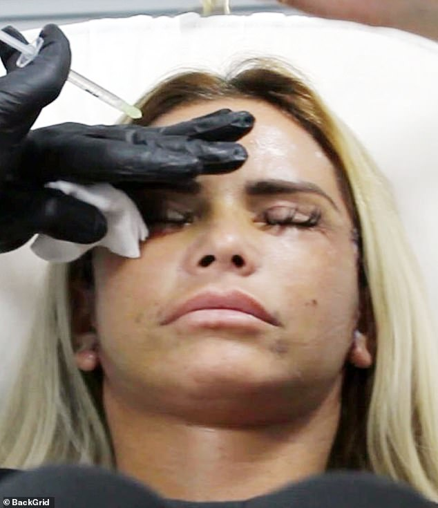 Surgical: Despite still having visible stitching and scarring from her face lift, Katie showed signs of discomfort as a facial aesthetics doctor administered the injections to her forehead