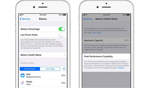 To check if Apple is throttling your phone, go to Settings > Battery > Battery Health. It will show the exact amount of degradation on your battery, and it will tell you if it's being throttled