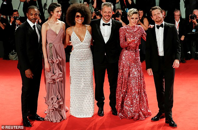 Cast reunion: Kristen also appeared alongside her co-stars (L-R)Anthony Mackie, Margaret Qualley, Zazie Beetz, director Benedict and Jack O'Connell at the red carpet