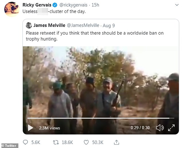 Comedian Ricky Gervais, known for his strong stance on animal cruelty, posted an expletive filled tweet on August 9 blasting a trophy hunter who shot dead a charging lion in a sickening video shared online and watched more than 5.8 million times