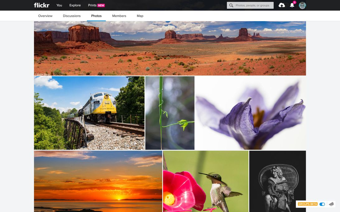 "Flickr set up a ""print boldly"" group to try to drum up interest in its restored ability to buy large prints on paper, canvas or metal."