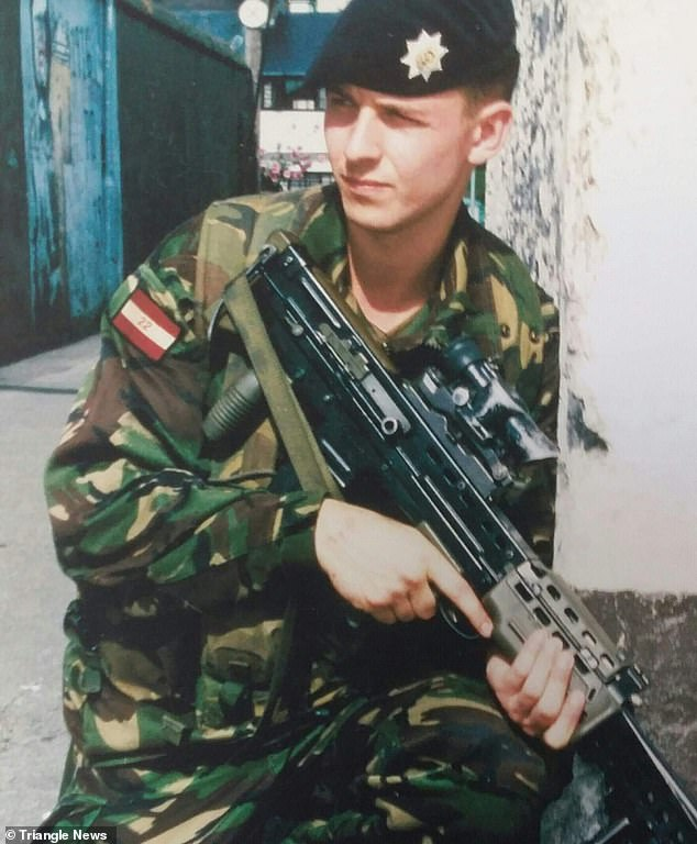 Former soldier Peter Coghlan asked his own mother to help kill him after being left completely paralysed due to locked-in syndrome. He is pictured when he was in the Army aged 18-21