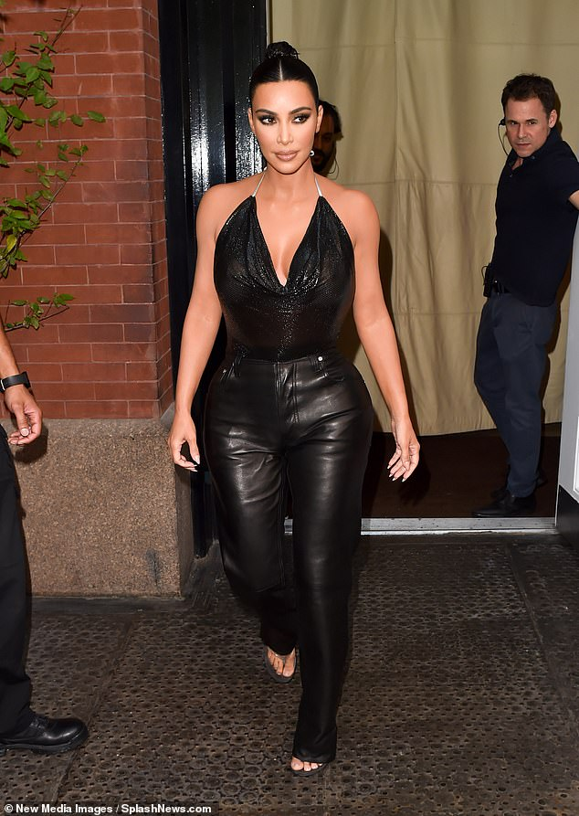 Stunning: Kim Kardashian smoldered in all black while making her way toThe Tonight Show Starring Jimmy Fallon in NYC on Wednesday