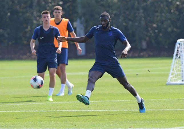Tiemoue Bakayoko kicks the ball during Chelsea training