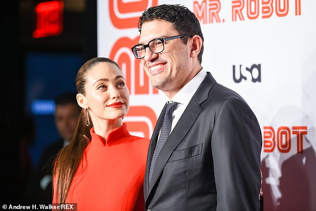 Classic:The creator, writer and director for Mr. Robot was classic in a black suit and polka dot tie, as his wife beamed while looking at him