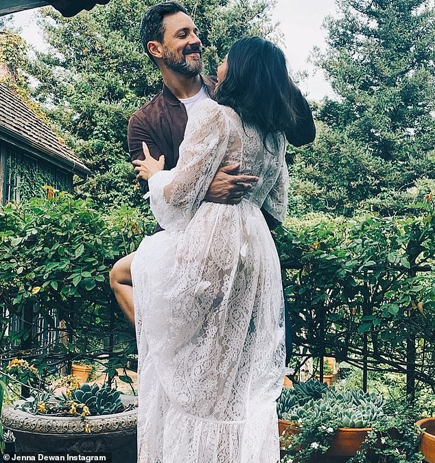 Happy couple: Jenna and Steve Kazee pose behind the scenes of the People shoot