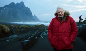 David Attenborough on location in Iceland for Seven Worlds, One Planet.