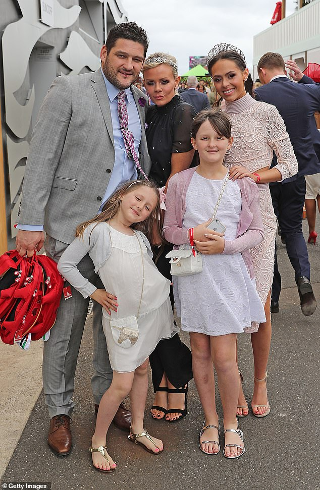 Giving back: Jessica isn't the only celebrity that has expressed interest in adoption. Retired AFL star Brendan Fevola (pictured with his family in 2016) said last week that he and his fiancée Alex plan to foster children once their daughters have grown up
