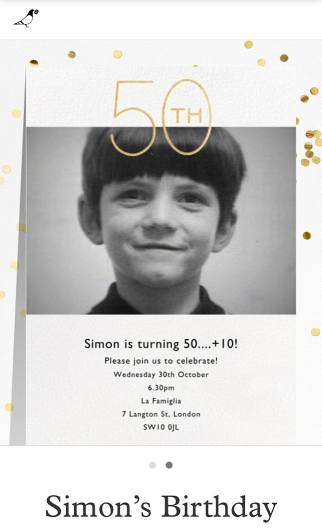 Rearranging: Simon, who celebrated his actual birthday with a small dinner in LA earlier this month, is said to be rearranging his party for December (Simon's original invite pictured)