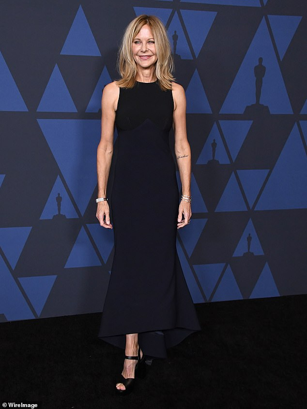 Moving forward:Rumors of a split began after Meg was seen without her engagement ring on Sunday at the Academy of Motion Picture Arts and Sciences' 11th Annual Governors Awards in Hollywood;' pictured on October 27, 2019 at the Academy of Motion Pictures Art and Sciences' 11th Annual Governors Awards in Hollywood