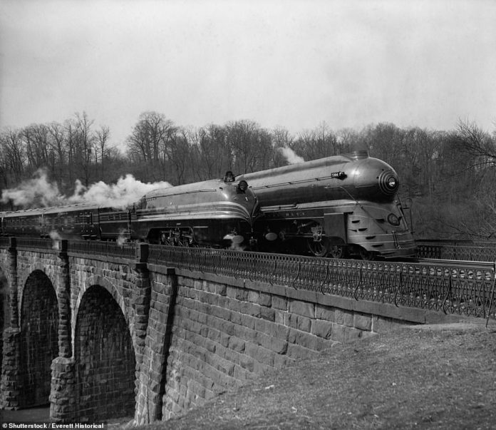 Two streamlined 1930s locomotives, near Washington, D.C.; Shutterstock ID 249571990; Purchase Order: -