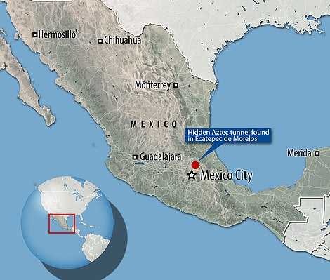 The tunnel chamber was discovered outside of Mexico city