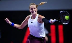 Petra Kvitova hits a forehand.