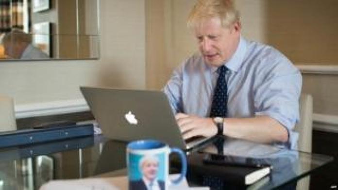 Boris Johnson putting the finishing touches to his speech