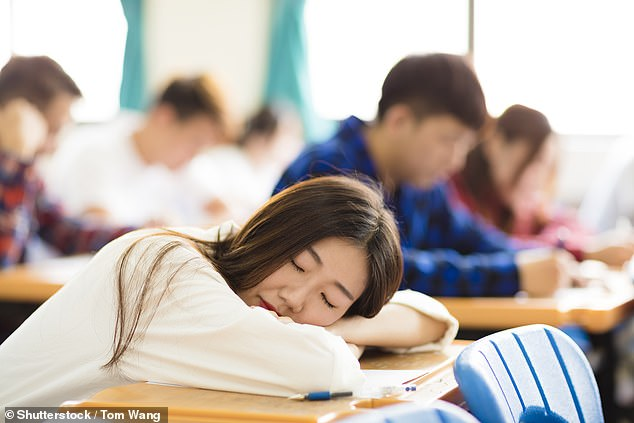A new study from the Massachusetts Institute of Technology found that college students who went to bed at 2am, even if they got seven hours of sleep, performed worse on exams (file image)