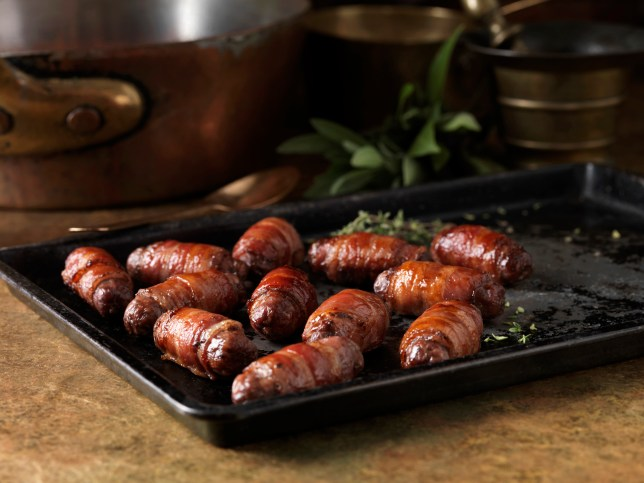 A plate of pigs in blankets